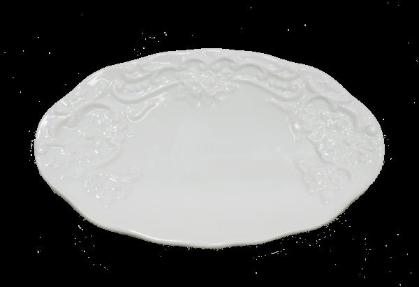 Seifenschale oval Porzellan weiß mit Blumendekor