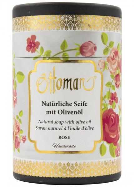 Ottoman Rosen Olivenölseife in Zylinderbox