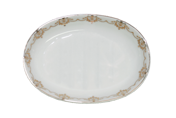 Seifenschale oval Porzellan mit Goldborte