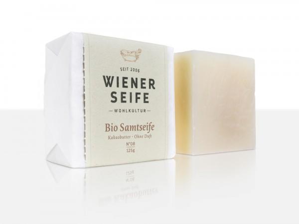 Wiener Seife Bio Samtseife N° 08, handgemacht mit Kakaobutter, ohne Duftzusätze